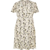 River Island Womens Ri Plus Cream Floral Print Frilly Dress
