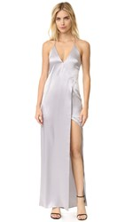 Halston V Neck Slip Dress With High Slit Grey