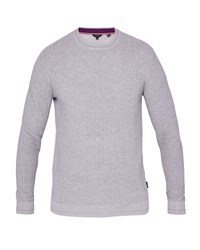 Ted Baker Men's Toxic Ls All Over Stitch Crew Neck Grey