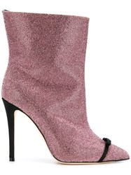Marco De Vincenzo Pointed Stiletto Boots Pink And Purple