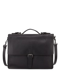 John Varvatos Pebbled Leather Flap Top Briefcase Black