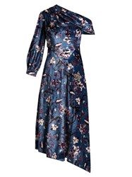 Erdem Jacobina Tulip Dream Print Velvet Gown Blue Multi