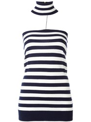 Michael Kors Striped Knitted Top Blue