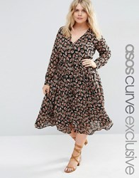 Asos Curve Ditsy Button Through Midi Dress With Long Sleeve Multi