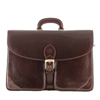 Maxwell Scott Bags Luxury Italian Leather Men's Briefcase Tomacelli Dark Chocolate Brown