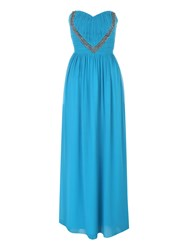 Jane Norman Embellished Maxi Prom Dress Teal