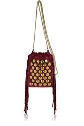 Jerome Dreyfuss Gary Small Fringed Studded Suede Shoulder Bag