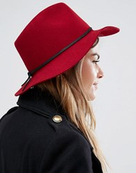 Brixton Wesley Fedora In Red Burgundy