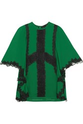 Elie Saab Guipure Lace Trimmed Crepe Blouse Forest Green