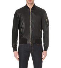 Burberry Ralleigh Leather Bomber Jacket Black