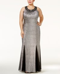 R And M Richards Plus Size Beaded Metallic Pleated Gown Charcoal