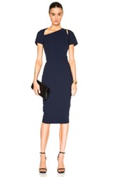 Victoria Beckham Light Matte Crepe Cap Sleeve Cut Out Dress In Blue