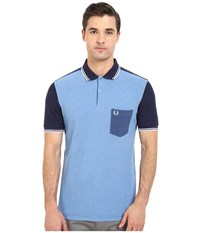 Fred Perry Blue Colour Block Shirt Blue Marl Men's Short Sleeve Pullover