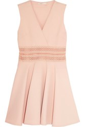 Maje Embroidered Mesh Trimmed Crepe Mini Dress Neutral