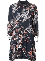 Maiyet Printed Tiered Shirt Dress Black