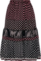 Comme Des Garcons Girl Tiered Printed Cotton And Satin Midi Skirt Black