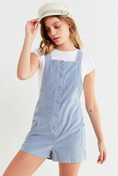 Urban Outfitters Uo Button Down Corduroy Romper Blue