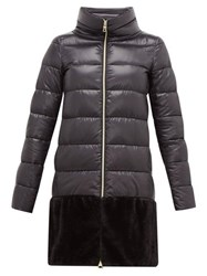 Herno Faux Fur Trim Down Filled Coat Black