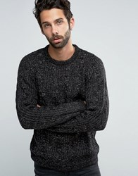 Pull And Bear Pullandbear Cable Knit Jumper In Black Black Grey