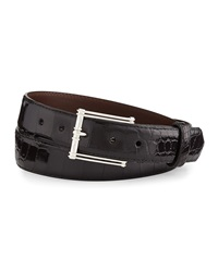W.Kleinberg Glazed Alligator Belt With 'The Chair' Buckle Black Made To Order