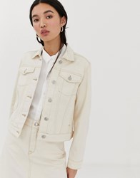 Selected Femme Ecru Denim Jacket With Contrast Stitching White