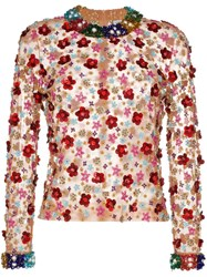 Ashish Beaded Floral Top Multicoloured