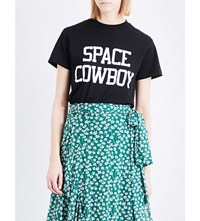 Ganni Space Cowboy Cotton Jersey T Shirt Black