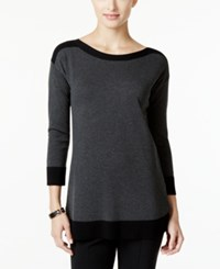 Cable And Gauge Contrast Trim Sweater Only At Macy's Black Tip Charcoal Heather