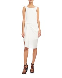 Atlein Sleeveless Draped Open Weave Dress White