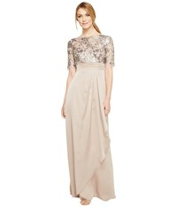 Adrianna Papell Floral Sequin Embroidered Drape Gown Light Mink Women's Dress Brown