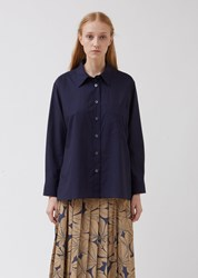 Margaret Howell Navy Cotton Washed Swing Shirt Navy