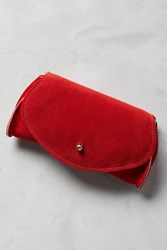 Anthropologie Pebbled Leather Clutch Red