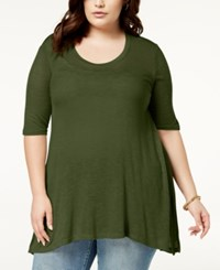 Celebrity Pink Plus Size Semi Sheer Top Olive