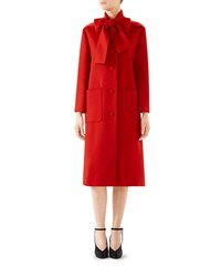 Gucci Single Breasted Bow Neck Wool Coat Red