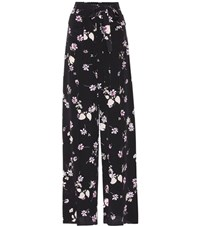 Valentino Floral Printed Silk Trousers Black