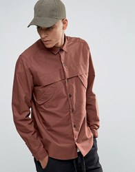 Asos Military Shirt In Rust With Storm Flaps And Long Sleeves In Regular Fit Rust Red