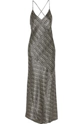 L'agence Romy Draped Silk Satin Maxi Dress Gray