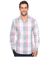 Perry Ellis Ombre Space Dye Plaid Shirt Bright White Men's Clothing