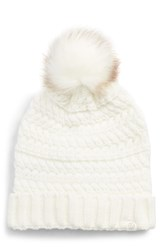 Treasure And Bond Cable Knit Beanie With Faux Fur Pom White Ivory