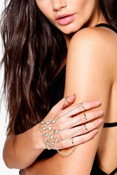 Boohoo Diamante Ring Hand Harness Gold