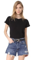 Wildfox Couture Destroyed Heights Crew Tee Clean Black