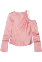 Topshop Unique Lambeth Cutout Silk Jacquard Blouse Baby Pink