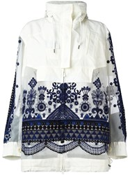 Sacai Tribal Lace Embroidered Jacket White