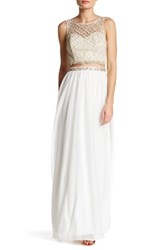Sequin Hearts Crochet Overlay Top And Matching Skirt Set White