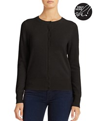 Lord And Taylor Petite Cashmere Crew Cardigan Charcoal Heather
