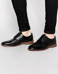 Asos Brogue Shoes In Black Leather With Natural Sole Black