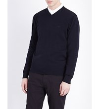 Armani Jeans V Neck Knitted Jumper Navy