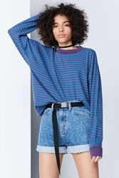 Bdg Ferris Striped Ringer Tee Purple