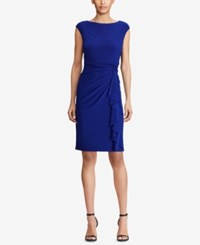 American Living Ruffled Jersey Dress Navy