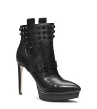 Michael Kors Bryn Platform Leather Ankle Boot Black